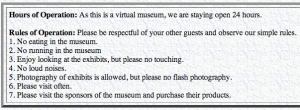 Museum Rules